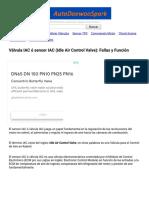 Válvula IAC ó Sensor IAC(Idle Air Control Valve)_ Fallas y Función