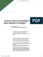 ¿Cómo Crear Un Portafolio Online Para Difundir Tu Trabajo