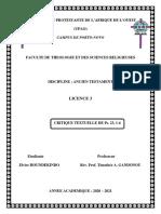 Critique Textuelle Du Ps. 23, 1-6 - Document Fini