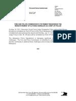 (Press Release) Reinstatement of Chief Morales