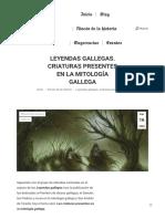 Leyendas Gallegas. Criaturas Presentes en La Mitología Gallega - Recreación de La Historia
