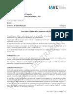 Exame de Filosofia 2021, 1ª fase, Critérios de Classificação (prova adaptada a Braille) Adaptados