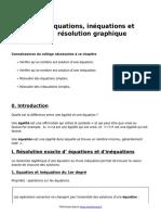 Equations Inequations Et Resolution Graphique Cours de Maths en 2de