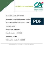 Simulation-simulateur Crédit à La Consommation_250 000DH_4 066.8DH_84Mois
