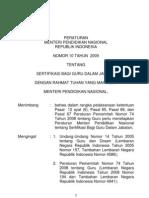 permen_no 10_2009 tentang sertifikasi guru dlm jabatan