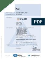 ISO27001 Zertifikat Filoo GmbH DE