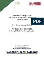 Analyse Des Données Polycopié 1_ Méthodes Factorielles 2014-2015