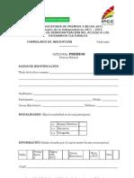 Formulario de Inscripción IX convocatoria Premios y Becas