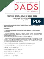 ADADS Accademia dell'arte Spettacolo Milano Modulo Application Form