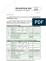 Convocatoria Justicia. Curso GRATIS.