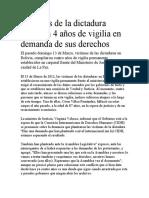 Víctimas de la dictadura cumplen 4 años de vigilia en demanda de sus derechos