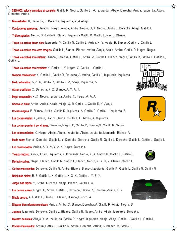 Trucos Gta San Andreas Xbox