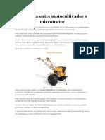 Diferença entre Motocultivador e Microtrator