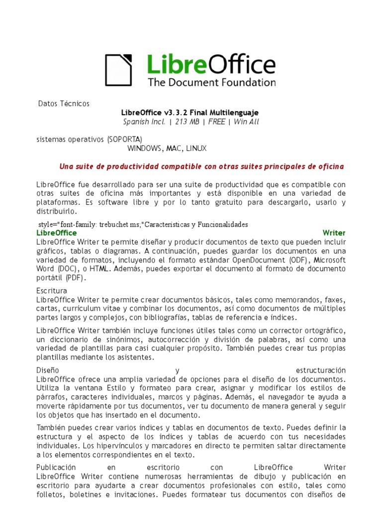 LibreOffice v3.3.2 Final Multilenguaje (Español), Suite de Ofimática ...