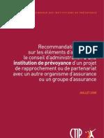 Recommandation du CTIP sur les éléments d'analyse par le conseil d'administration d'une institution de prévoyance d'un projet de rapprochement ou de partenariat avec un autre organisme d'assurance ou un groupe d'assurance