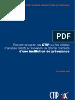Recommandation du CTIP sur les critères d'analyse relatifs à l'évolution du champ d'activité d'une institution de prévoyance