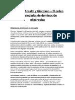 Resumen Ansaldi y Giordano - El Orden en Sociedades de Dominación Oligárquica