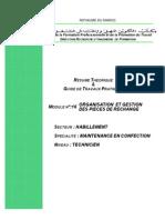 M16 - ORGANISATION  ET GESTION DES PIECES DE RECHANGE TH-RMC
