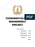 FUNDAMENTALS OF MANAGEMENT PROJECT