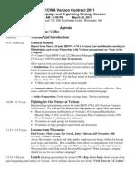 Agenda for IBEW/CWA Verizon 2011 Contract Campaign Strategy Session