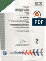 Certificado ISO 9001 2008 Unimpro Original