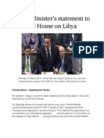 David Cameron's Statement on Action in Libya