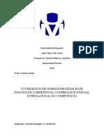 convergencia de normas procesales de fijacion de competencia, cooperacion judicial internacional