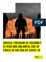 Greece Freedom of Assembly at Risk and Unlawful Use of Force in the Era of Covid-19