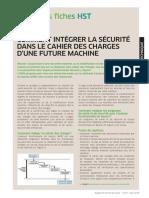 COMMENT INTÉGRER LA SÉCURITÉ  DANS LE CAHIER DES CHARGES  D'UNE FUTURE MACHINE