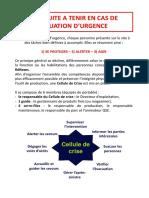 CONDUITE A TENIR EN CAS DE SITUATION D'URGENCE