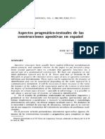 Aspectos pragmaticos textuales de las construcciones apositivas en español