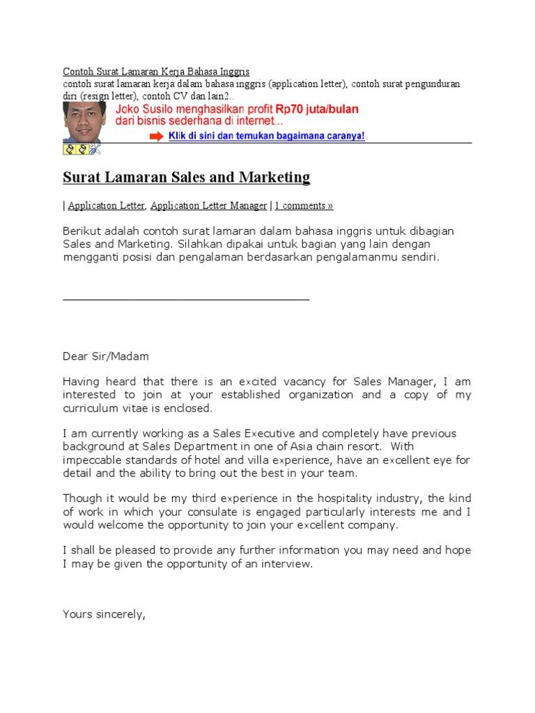 Contoh Surat Lamaran Kerja Bahasa Inggris Business
