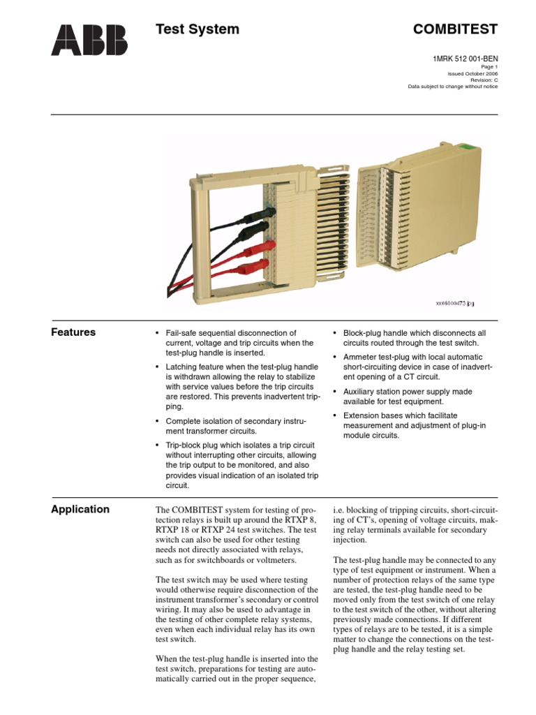 Abb Test Switch Catlogue