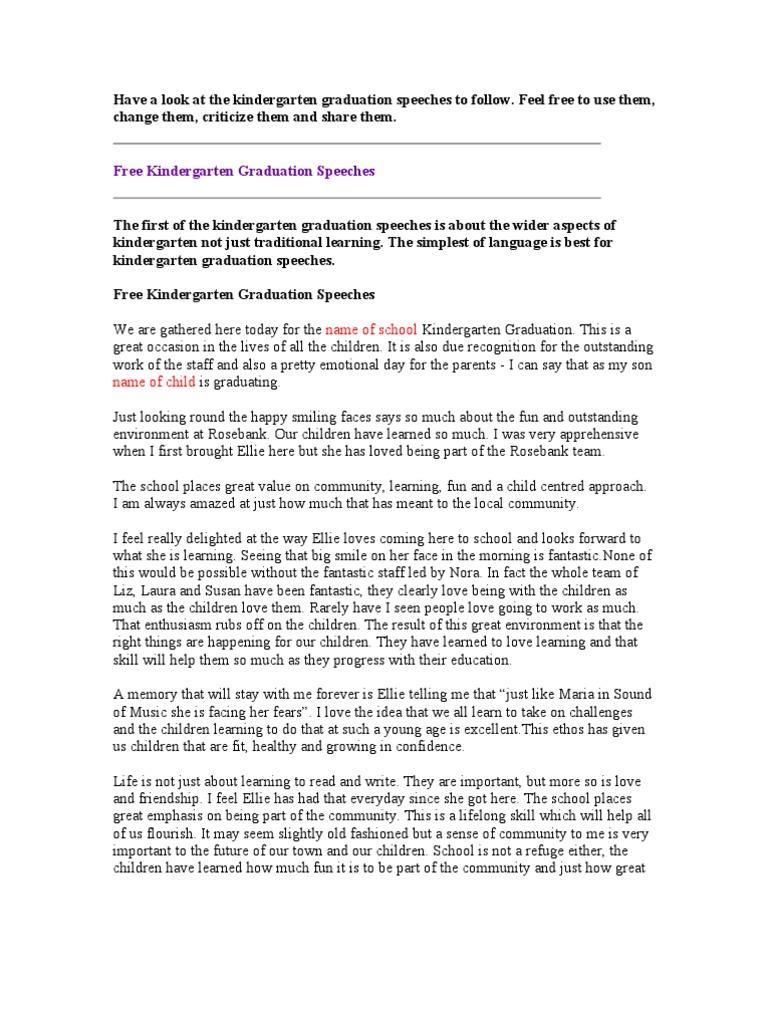 free graduation speech Graduation Speeches | Curiosity | Kindergarten
