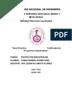 TERCERA  PRÁCTICA DEL CURSO DE PROYECTOS INDUSTRIALES