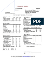 Sample Homeschool Transcript
