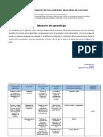 Identificación y Planeación de Los Contenidos Esenciales Del Currículo