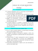 Funções Biológicas do Sistema respiratório - Embriologia - Aula 1