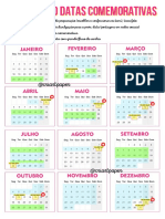 CALENDARIO DATAS COMEMORATIVAS SBCT