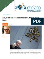 DDL Zan, la Chiesa non vede l'ateismo. Parola di Del Noce