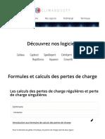 PERTES DE CHARGE-FORMULES CALCULS-HYDRAULIQUE PRATIQUE-LOGICIEL TELECHARGER