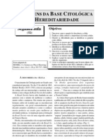 AS ORIGENS DA BASE CITOLÓGICA DA HEREDITARIEDADE