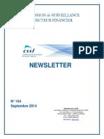 COMMISSION de SURVEILLANCE du SECTEUR FINANCIER NEWSLETTER