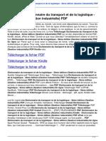 Dictionnaire Du Transport Et de La Logistique 3eme Edition Gestion Industrielle B00TEEB9WG