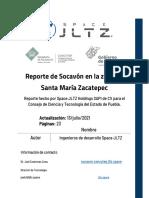 Reporte de Socavón en la zona de Santa María Zacatepec Julio 2021