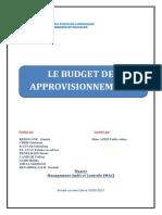 Budgétisation Des Approvisionnements