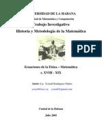 Ecuaciones de la Física Matemática  s. XVIII - XIX