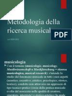 Metodologia Della Ricerca Musicale 2021