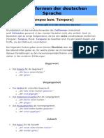 Die Zeitformen der deutschen Sprache