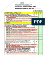 Tabla de Especificaciones UG PPAA